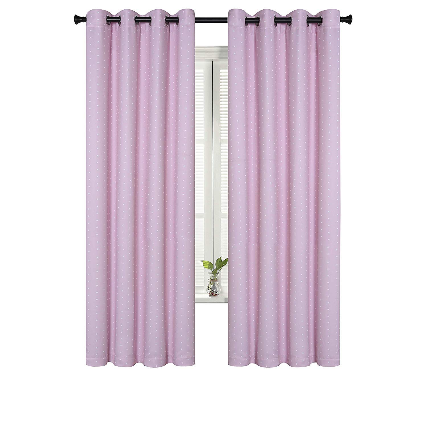 Buy Suo Ai Textile Circle Print Curtains Room Darkening Rod Pocket Curtain Panels For Girls Room 52x95 Inch Pink And White Set Of 2 Online At Low Prices In India Amazon In