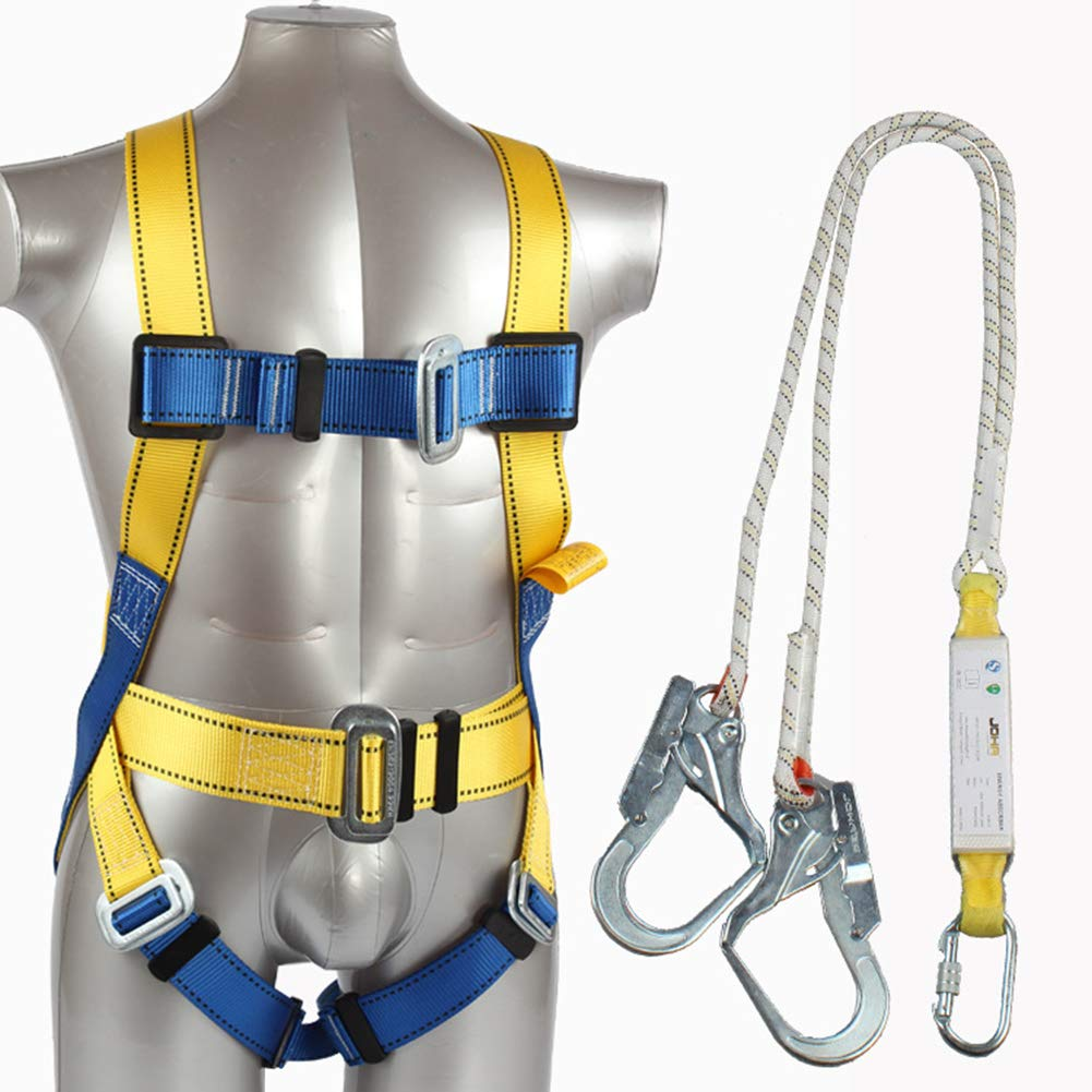 Safety Fall Arrest Harness Kit, Five Points Full Body Double Hook Safety Harness For Labor Working Construction Worker Protect Equipment With Buffer