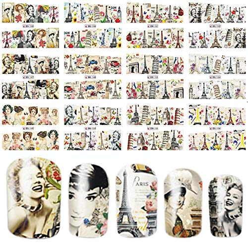 12 sets Hollywood actress Marilyn Monroe Norma Jean tattoo NAIL DECALS Paris party decor EUROPEAN CITIES eiffel tower pisa italy French decor NAIL WRAPS British actress Audrey Hepburn nail art vinyls ()