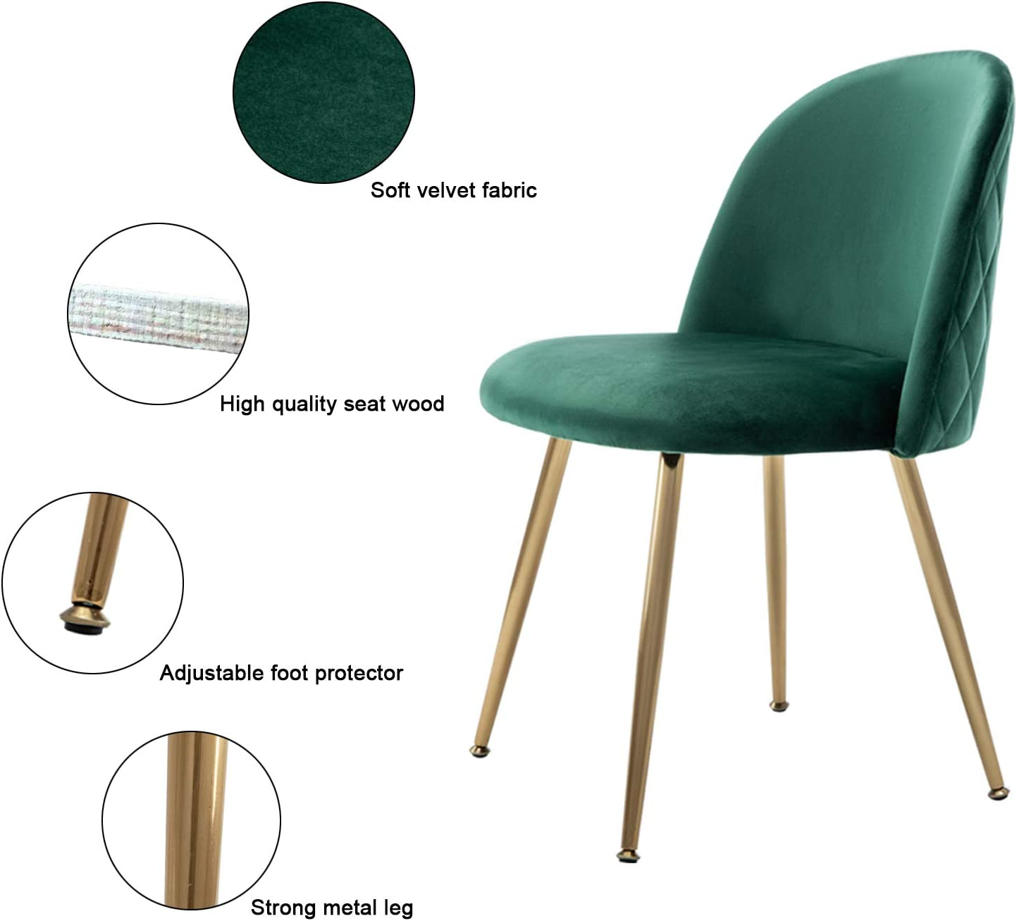 Modern Velvet Dining Chairs, Upholstered Living Room Leisure Chairs, Gold Accent Chairs for Dining Room Kitchen Vanity, Set of 2 – Green