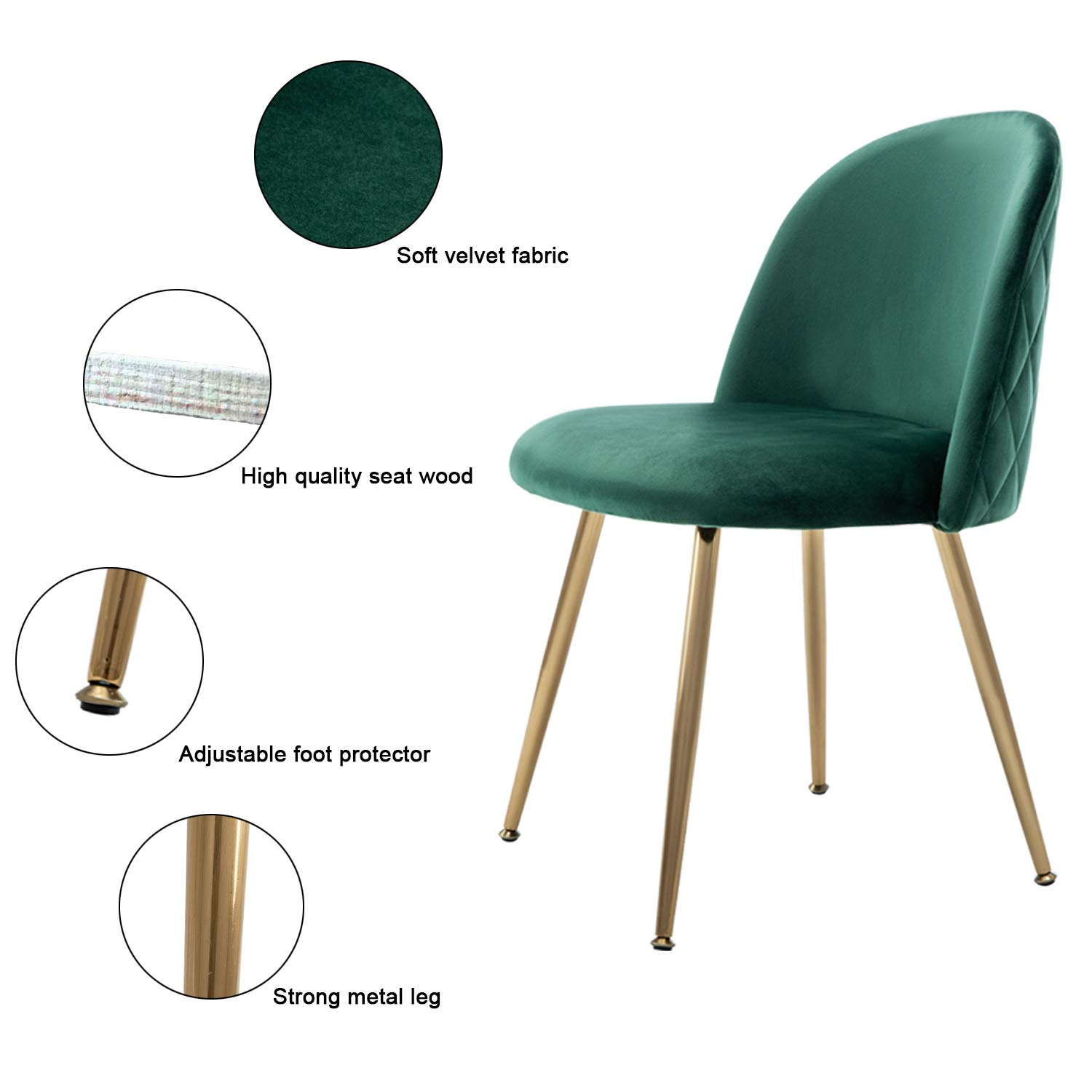 Modern Velvet Dining Chairs, Upholstered Living Room Leisure Chairs, Gold Accent Chairs for Dining Room/Kitchen/Vanity, Set of 2 - Green
