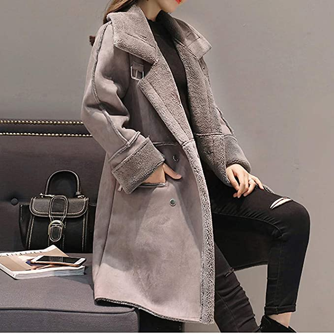 Amazon.com : IG Back 2019 Sale Womens Lapel Faux Fur Fleece Lined Warm Winter Shearling Coat Leather Jacket : Sports & Outdoors
