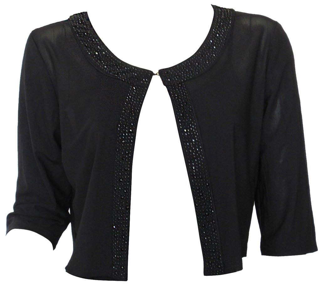 Alivila.Y Fashion Womens Boutique Beaded Black Mesh Shrug Bolero 108-Black