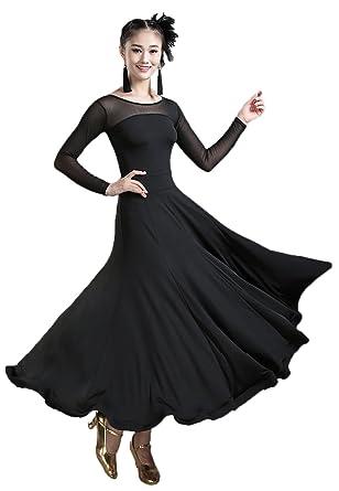 e9bfcdc03dfa0 LNIGHT 社交ダンス モダンダンス衣装 ワルツ専用ドレス 花柄 シースルー 長袖ワンピース レッスン着