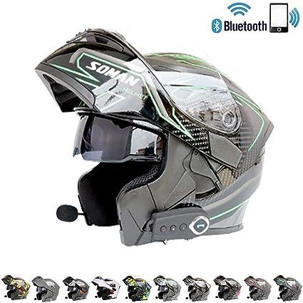 Amazon.es: Cascos Moto Bluetooth Integrado Casco de Motocicleta ...