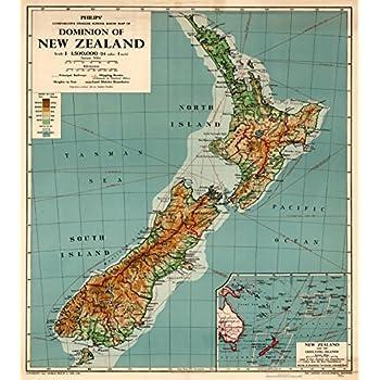 Amazoncom 24x36 New Zealand Map Poster Print New Zeland Map