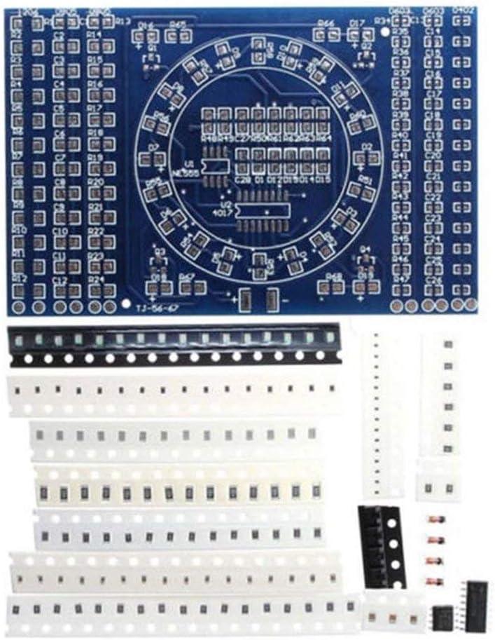 Rotating Flashing LED Components Soldering Practice Board DIY Set Training Set Color:Blue