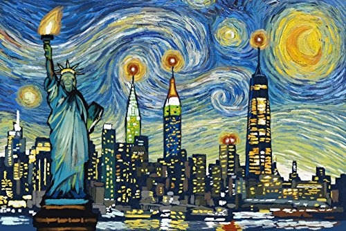 New York City, New York - Skyline - Van Gogh Starry Night (16x24 Giclee Gallery Print, Wall Decor Travel Poster)