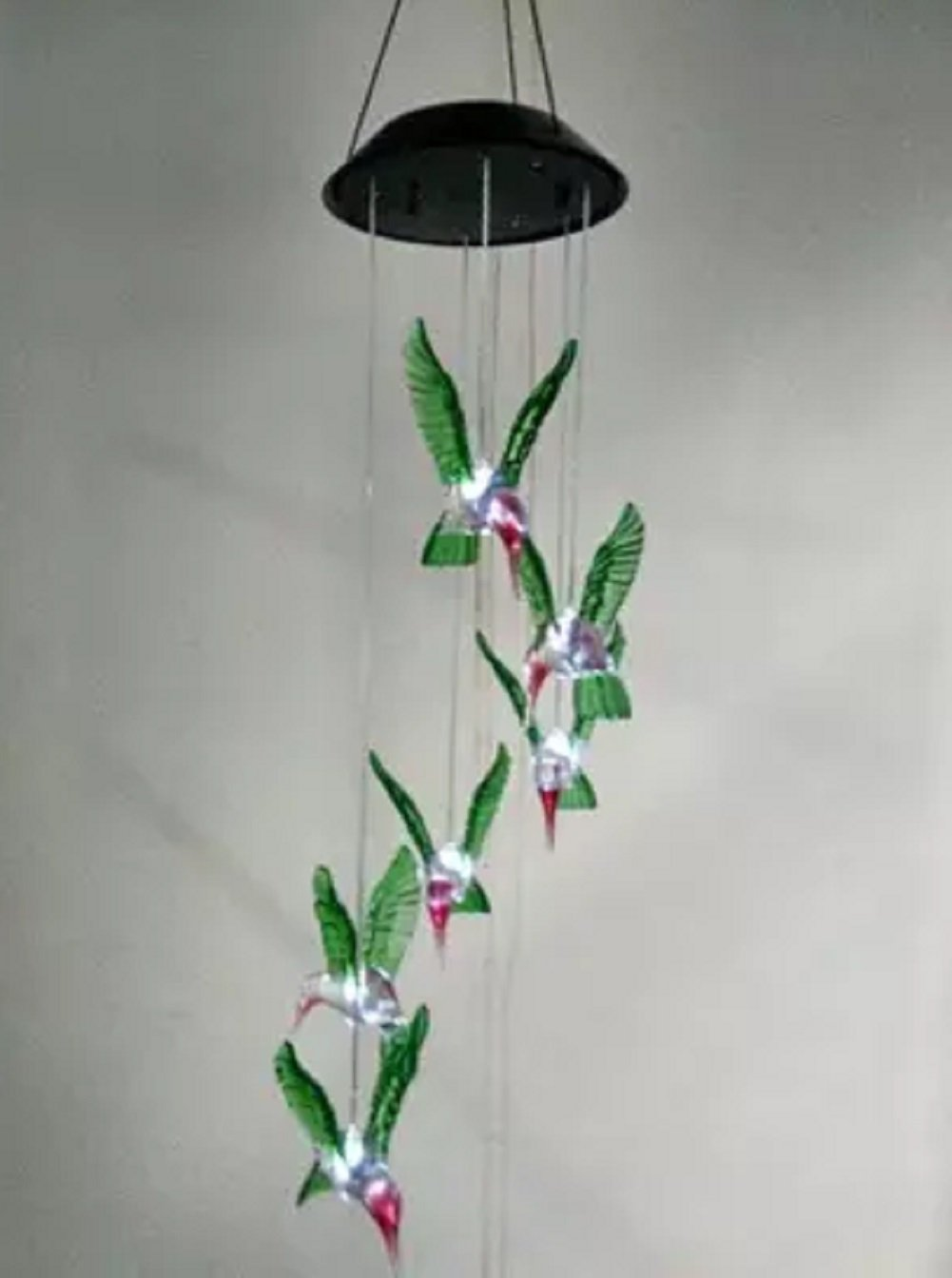 Solar Wind Chime, Color-Changing Solar LED Wind Chime Waterproof Six Hummingbird Wind Chimes For Home/Party/Night/Garden/Festival Decor/Valentines Gift (Green Hummingbird)