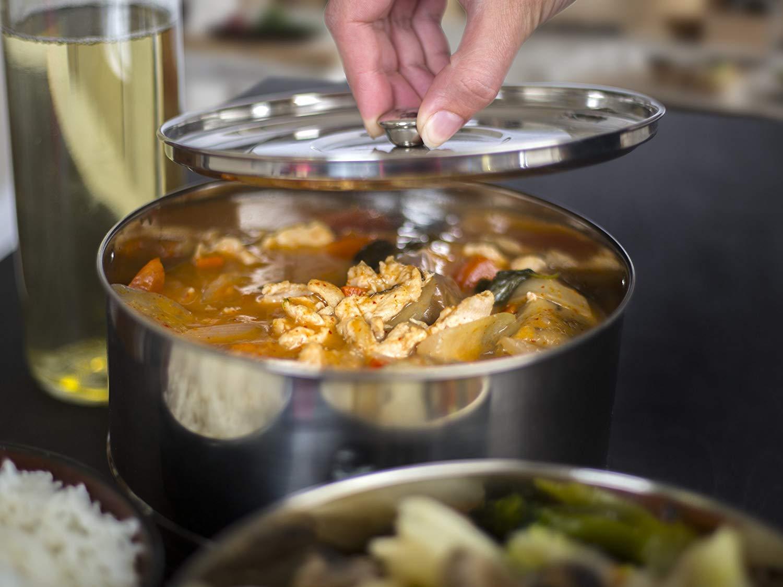 Ultra Original más grande apilable 2 niveles acero inoxidable separador de cocina olla a presión de vapor Sartenes para hacer sana, rápida y deliciosa ...