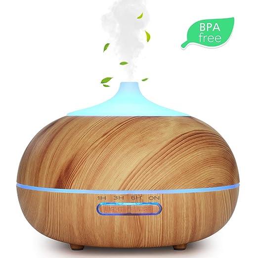 Brilex Madera Humidificador 300ml Aromaterapia Ultras/ónico con Control Remoto Difusor Aroma de Vapor Fr/ío con 7 Colores de LED para Beb/é Yoga Oficina Difusor de Aceites Esenciales