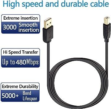 Cable de impresora, NC xqin Cable de impresora USB 2.0 cable tipo ...