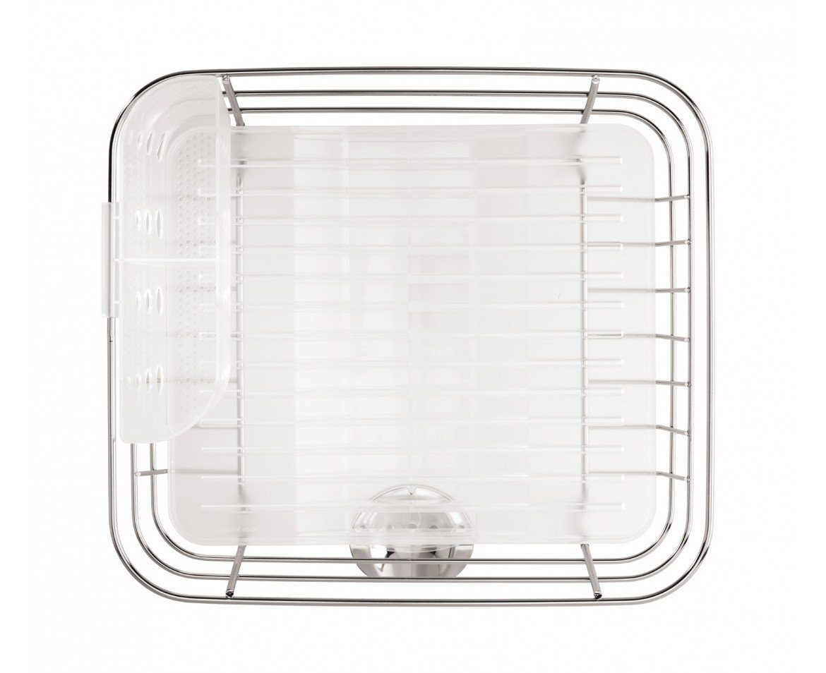 simplehuman Kitchen Compact Wire Frame Dish Rack With Removable Spout Stainless Steel