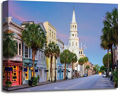 Charleston South Carolina Paper Print Wall Art Gallery Wrapped Canvas Art (20in. x - Quarter French Charleston