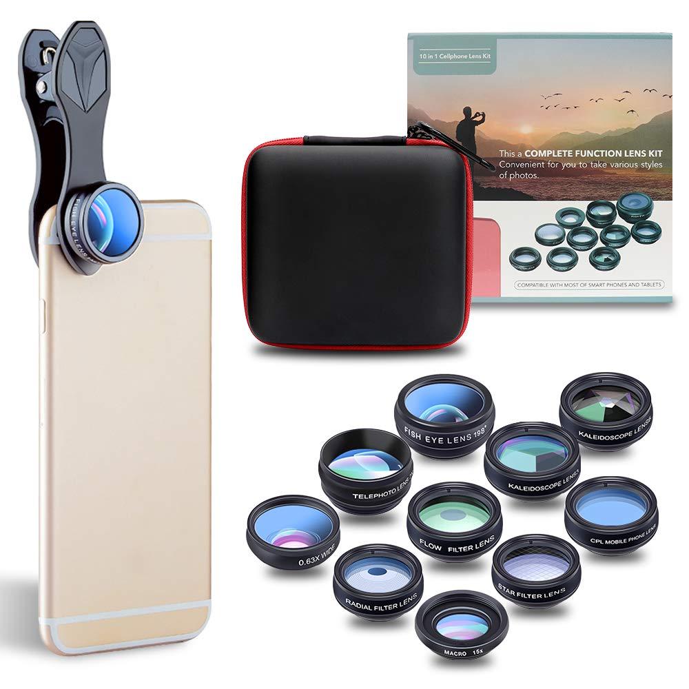 Phone Lens Kit, JoyGeek Universal 10-in-1 Camera Lens Kit 198° Fisheye, Wide & Macro Detachable Lens, 2x Telephoto, Kaleidoscope 3/6, Flow/4-Line Star/Radial Filter/CPL Clip-on Lens for Most of Smart Phones and Tablets