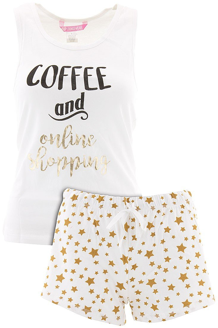 Love Loungewear Juniors Coffee and Online Shopping Shorty Pajamas L