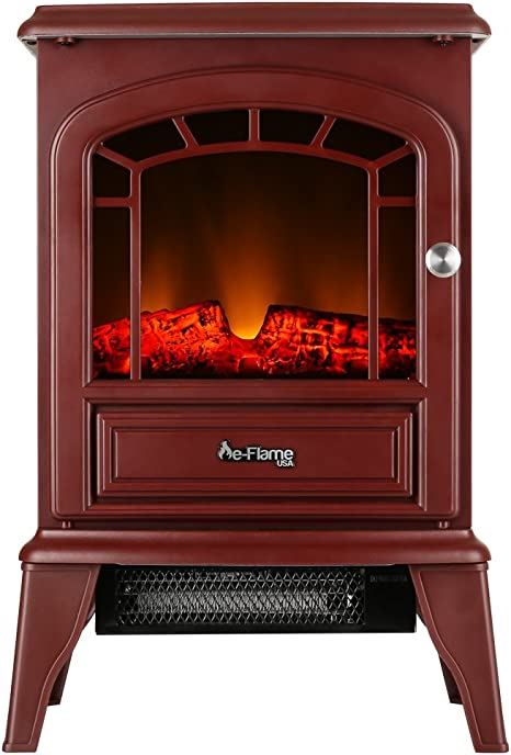 E Flame Usa Aspen Portable Electric Fireplace Stove Rustic Red 22 Inches Tall Freestanding Fireplace Featuring Heater And Fan Settings With Realistic And Brightly Burning Fire And Logs Amazon Ca Home Kitchen