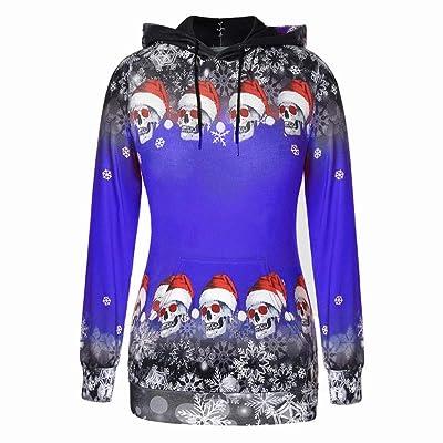 FEDULK Womens Christmas Ugly Hooded Pullover Tops Skulls Snowflake Print Hoodie Sweatshirt at Women's Clothing store