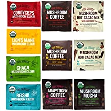 Four Sigmatic Mushroom Coffees, Elixirs and Cacaos Ultimate Sampler Pack (10 Packets Total) – USDA Organic, Vegan, Paleo