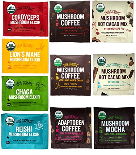 - Four Sigmatic Mushroom Coffees, Elixirs and Cacaos Ultimate Sampler Pack (10 Packets Total) - USDA Organic, Vegan, Paleo