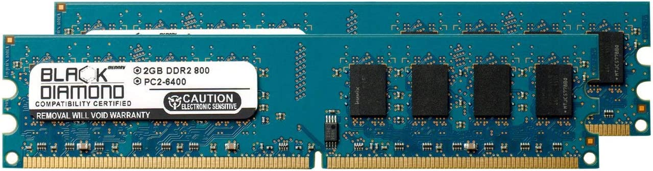 4GB 2X2GB RAM Memory for Foxconn G Motherboard Series G33M-S G33M03-8EKRS2H DDR2 DIMM 240pin PC2-6400 800MHz Black Diamond Memory Module Upgrade