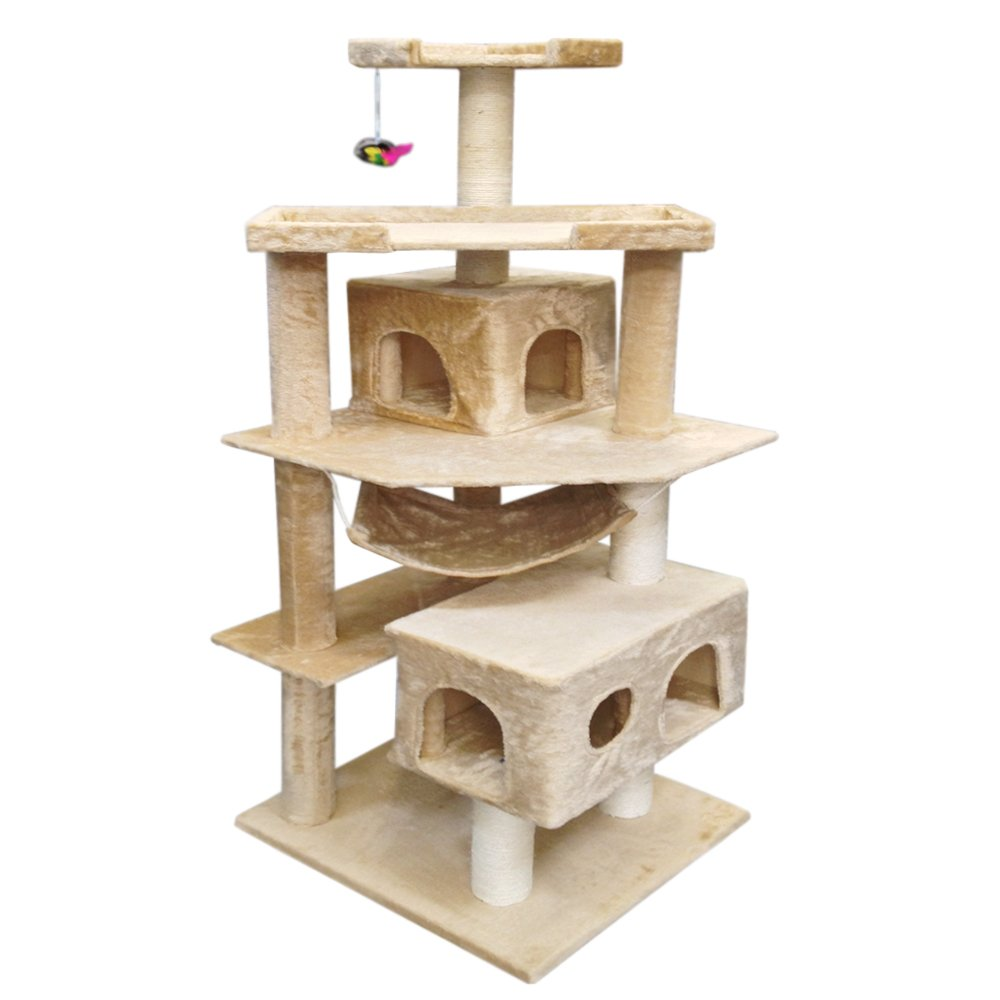 Vidagoods 71'' Beige Tall Big Fat Cat Tree Condo Furniture Scratch Post Play House CARB2-Certified Wood Particle-board (Beige)