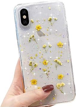LAPOPNUT Coque pour iPhone XR Transparent Silicone TPU Fleur Séchée Paillette Housse Etui de Protection Claire Antichoc Fine Case pour Apple iPhone XR ...