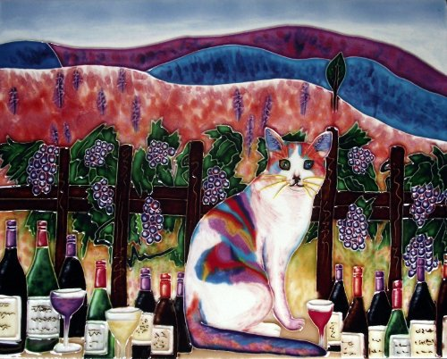 Continental Art Center HD 045 Rainbow Cat with Wine and Glass Art Tile, 11 by 14-Inch ()