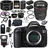 Canon EOS 5DS-R 5DSR DSLR Camera + EF 24-105mm f/4L IS USM Lens + Canon EF 50mm f/1.8 STM Lens + LPE-6 Lithium Ion Battery + External Rapid Charger + Canon 100ES EOS shoulder bag Bundle 7