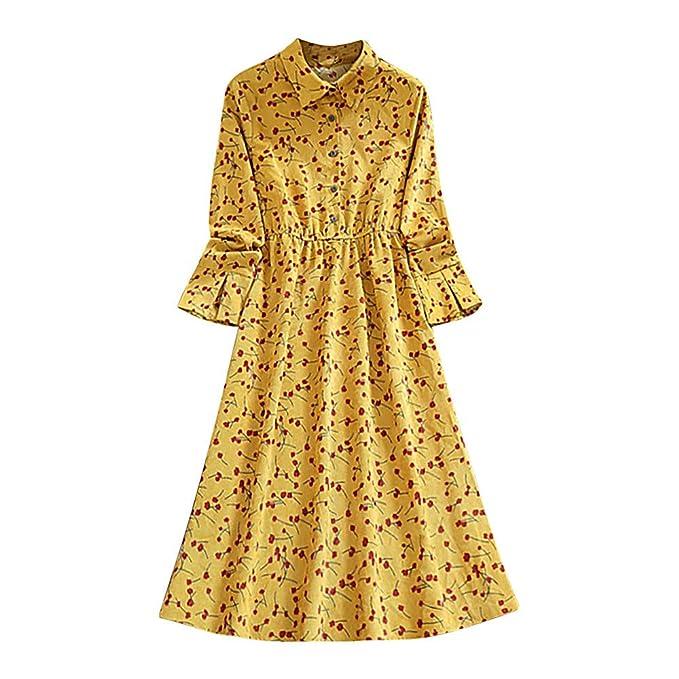 LANSKIRT_Ropa de mujer Vestido para Mujer, otoño Moda Manga Falda Larga Vestido Imprimir Botón Estampado Floral Vintage: Amazon.es: Ropa y accesorios