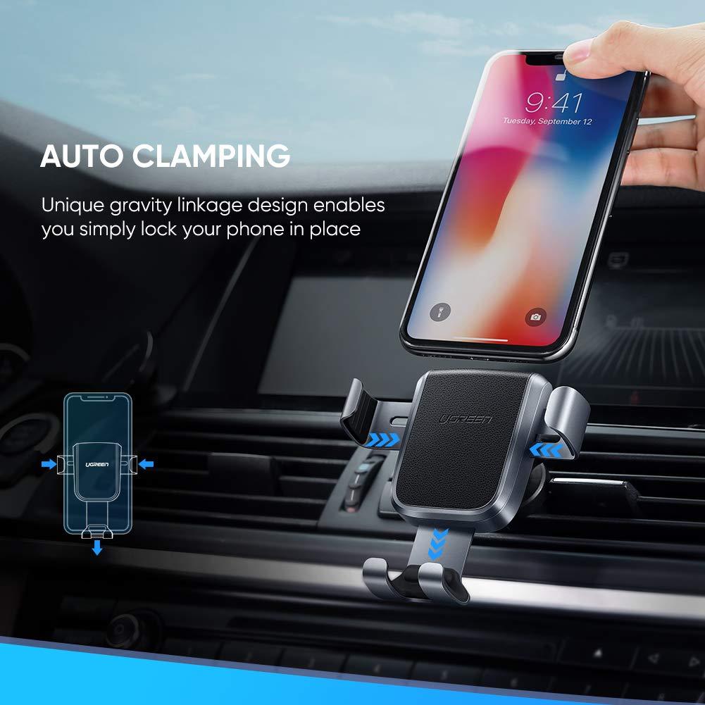 UGREEN Supporto Smartphone per Auto Supporto Gravit/à in Alluminio Porta Cellulare da Auto per iPhone XS Max XR X 8 7 6 Samsung S10 S9 S8 A50 A7 J6 Huawei P30 P20 Mate 20 Lite Xiaomi Mi A2 ecc.