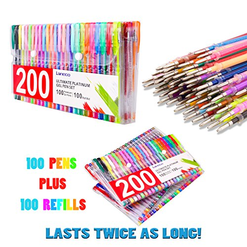 Laneco 200 Coloring Gel Pens Set ink Refills