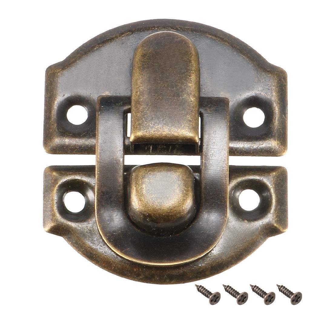 sourcing map Cerradura de la caja 62mm x 40mm estilo retro decorativas Joyerí a Cierre del Agarre de Caja w tornillos 4 pcs