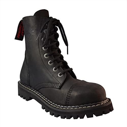 Angry Itch 8 Hole Vintage Black Leather Combat Boots Army Ranger Punk With Steel  Toe Unisex