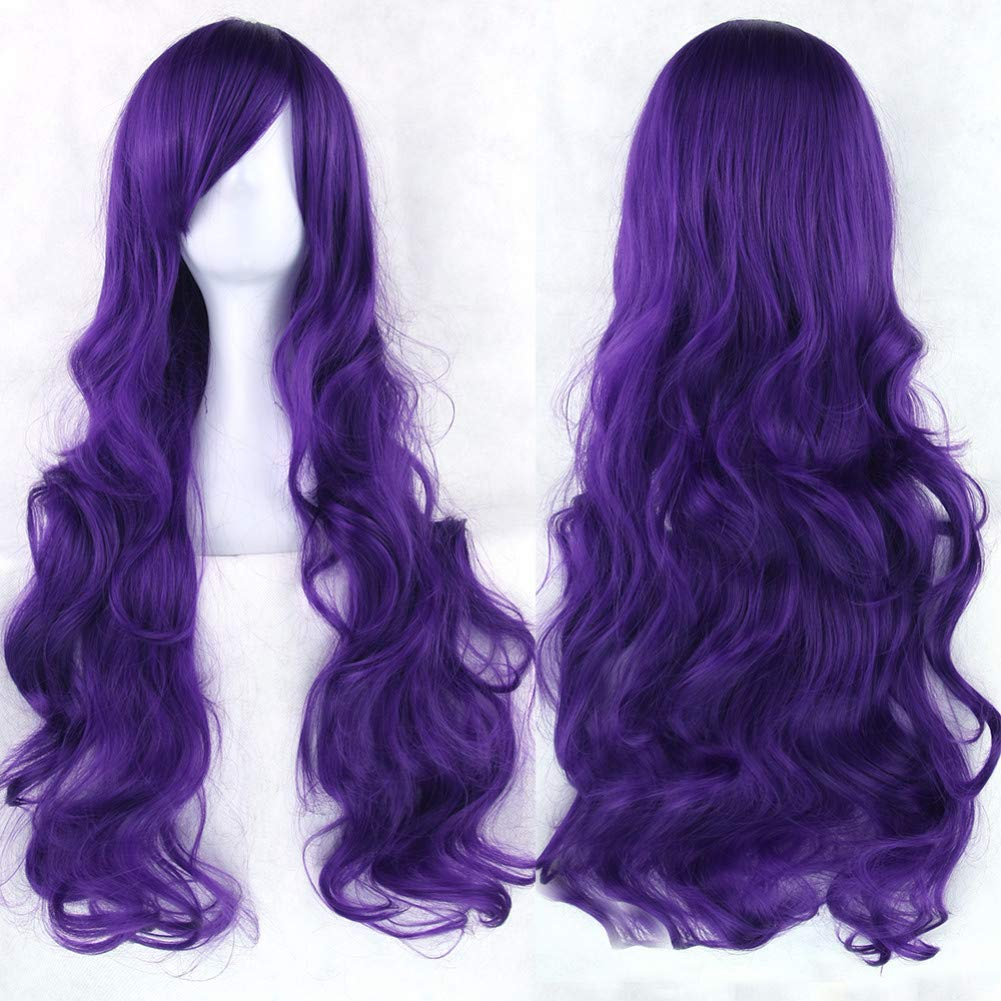 T4 27 30 BMY 20 colors Wavy Long Wig Hairpiece High Temperature Fiber Synthetic Hair Pink Black Women Party Hair Cosplay Wigs