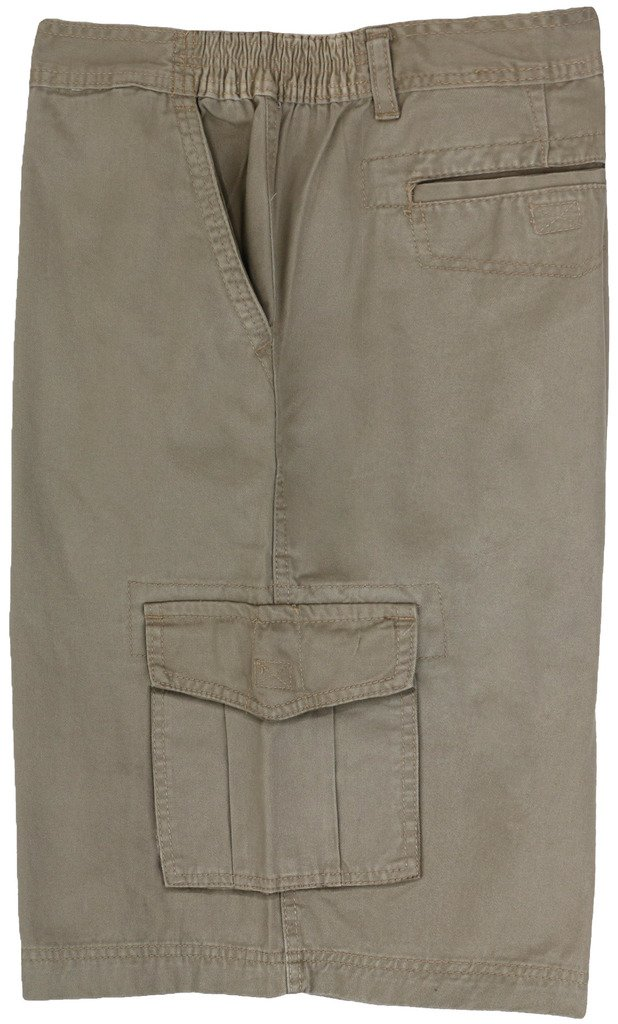 Full Blue Big Men's Cargo Shorts with Expandable Waist (Waist 44, Khaki)