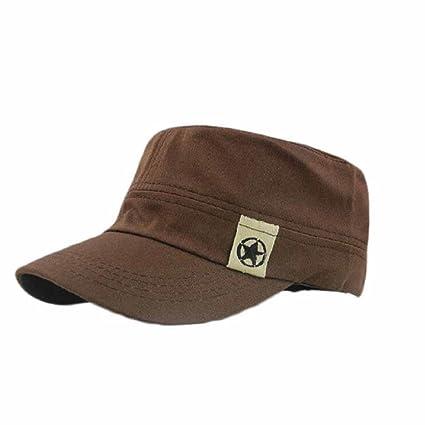 tongshi Moda Unisex tetto piano Cappello Militare cadetto Patrol Cappello  australiano Baseball Field Cap (Caffè 932b33eca7ed