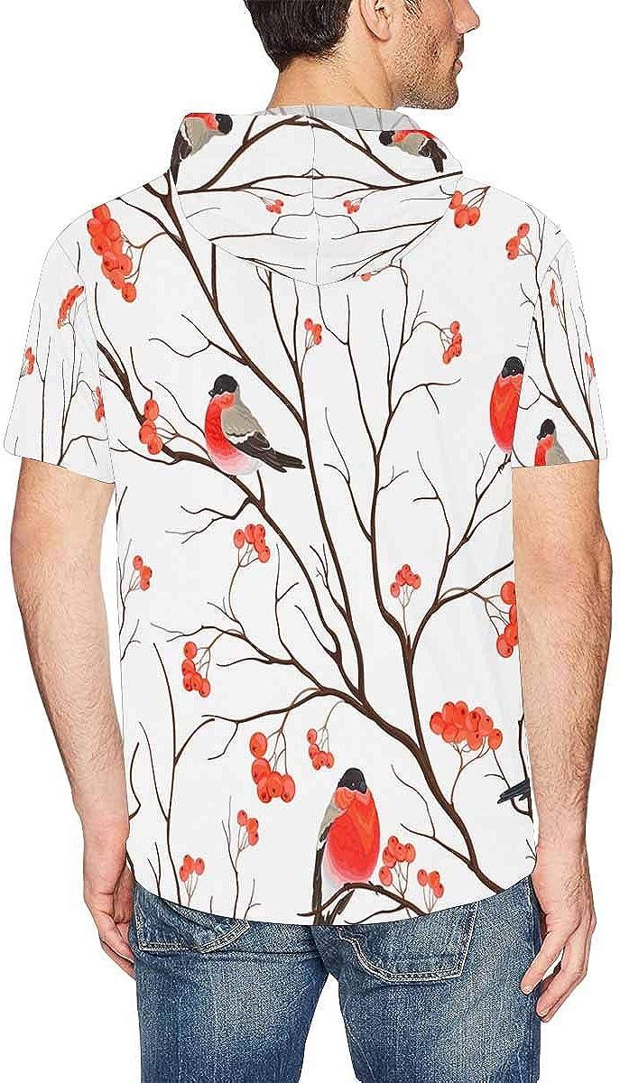 INTERESTPRINT Mens Hoodies Shirts Bullfinches Bird Drawstring Short Sleeve Tops XS-2XL