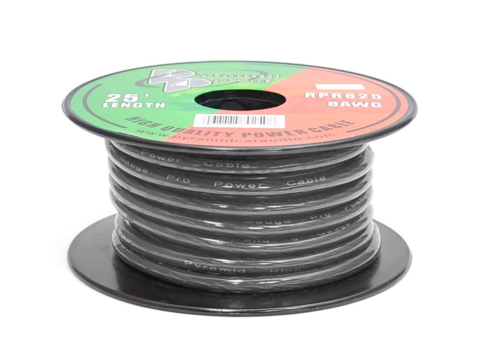 Pyramid RPB825 Ground Wire 8-Gauge, 25 Feet, Flexible, OFC Cable Wire, Translucent (Black)