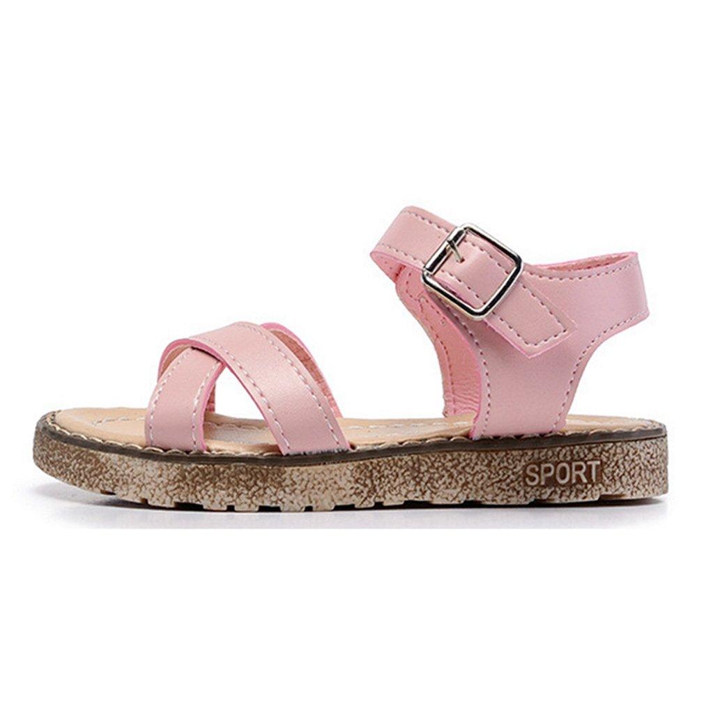 CYBLING Girls Comfort Summer Outdoor Sandals Ankle Strap Open Toe Flat Shoes Toddler//Little Kid//Big Kid