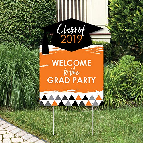 Big Dot of Happiness Orange Grad - Best is Yet to Come - 2019 Party Decorations - Orange Graduation Party Welcome Yard -
