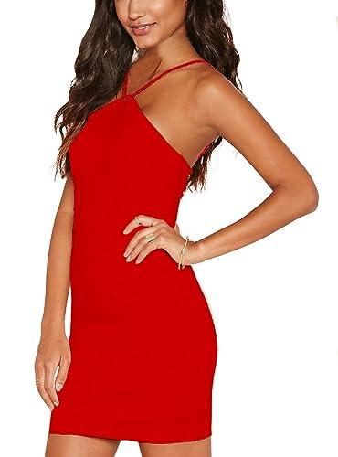 Sexy Red Sleeveless Halter V-Strap