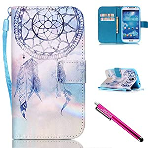 Galaxy S4 mini Case, Firefish Kickstand Card Slots Cash Holder Dual Layer Impact Resistant Case Cover with Wrist Strap Magnetic Snap Closure for Samsung Galaxy S4 mini i9600/9192/9195-Dreamnet