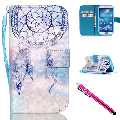 Galaxy S4 mini Case, Firefish Kickstand Card Slots Cash Holder Dual Layer Impact Resistant Case Cover with Wrist Strap Magnetic Snap Closure for Samsung Galaxy S4 mini i9600/9192/9195-Dreamnet - Ranger Floral Belt