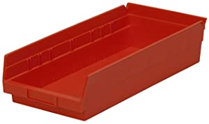 Akro-Mils 30150 12-Inch by 8-Inch by 4-Inch Plastic Nesting Shelf Bin Box, Red, Case of 12