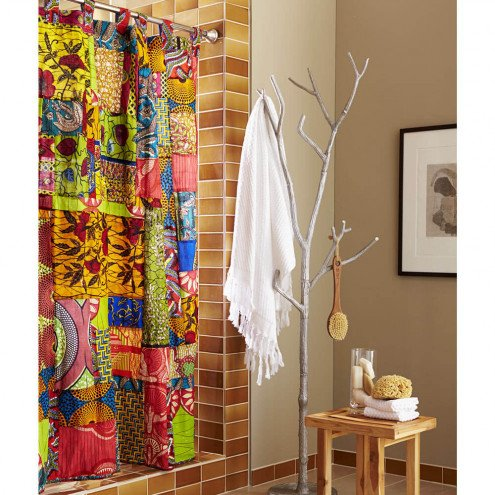 High Quality African Print Patchwork Shower Curtain
