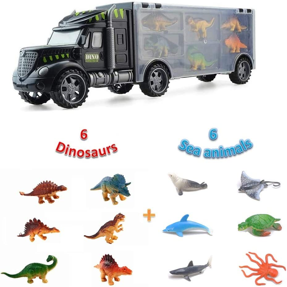 Birthday Present for Boys Girls over 3 4 5 6 Years Old Best Gift for Kids Portable Children Educational Toys Pup Go Kids Dinosaur Transport Carrier Truck with 6 Mini Dinosaurs and 6 Animals Figures