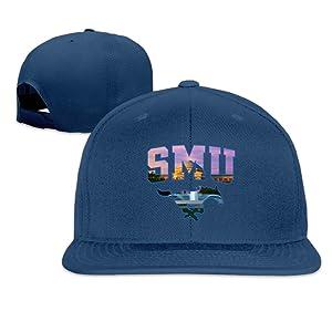 ElishaJ Flat Billed Southern Methodist University Baseball Caps Navy