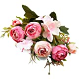 Saingace 1 Bouquet with 5 Forks Flower Heads Artificial Silk Flowers Bouquet for for Wedding Party Festival Floral Arrangements and Home Decoration (Hot Pink)