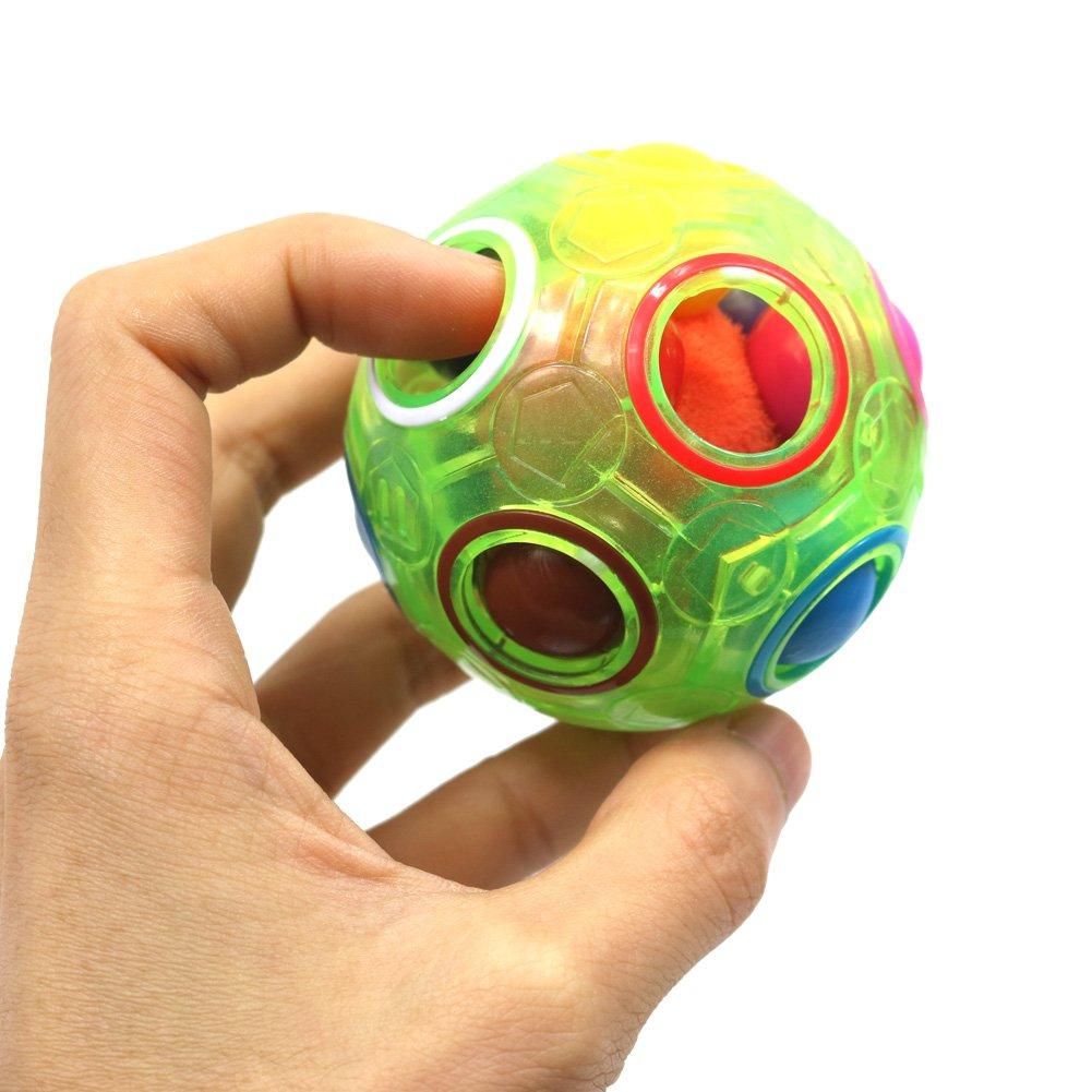 FC MXBB 2Pack Fidget Ball Cube Intelligence Rainbow Magic Cube 3D Puzzle Football Design Fidget Toys